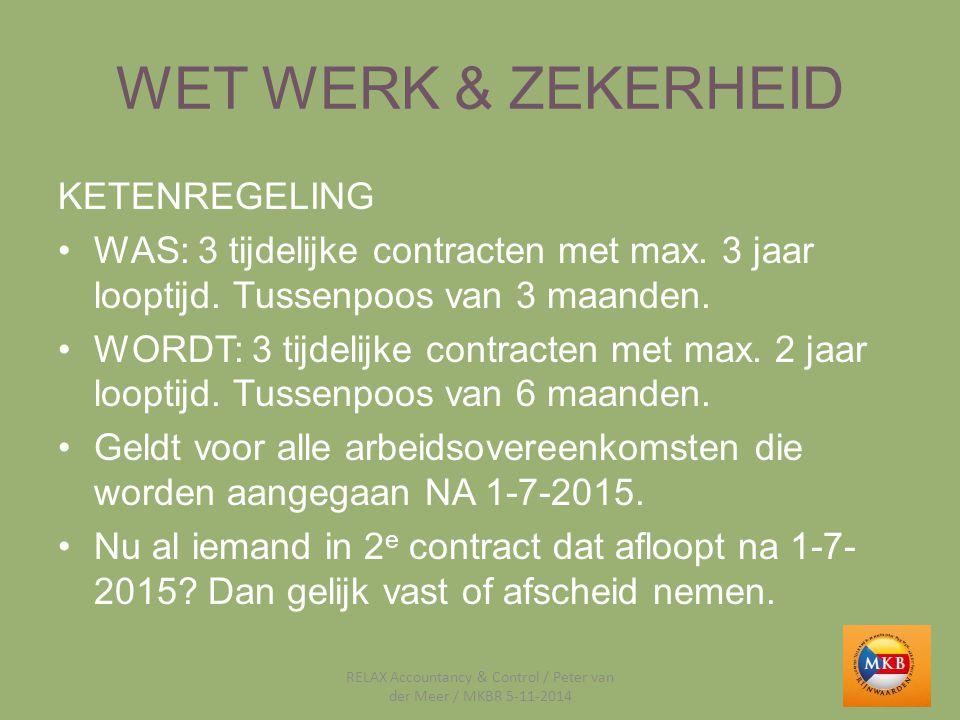 WET WERK & ZEKERHEID KETENREGELING WAS: 3 tijdelijke contracten met max. 3 jaar looptijd. Tussenpoos van 3 maanden. WORDT: 3 tijdelijke contracten met