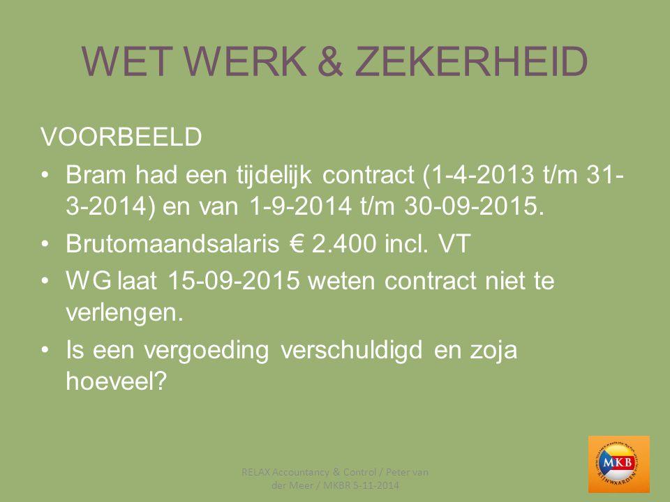 WET WERK & ZEKERHEID VOORBEELD Bram had een tijdelijk contract (1-4-2013 t/m 31- 3-2014) en van 1-9-2014 t/m 30-09-2015. Brutomaandsalaris € 2.400 inc
