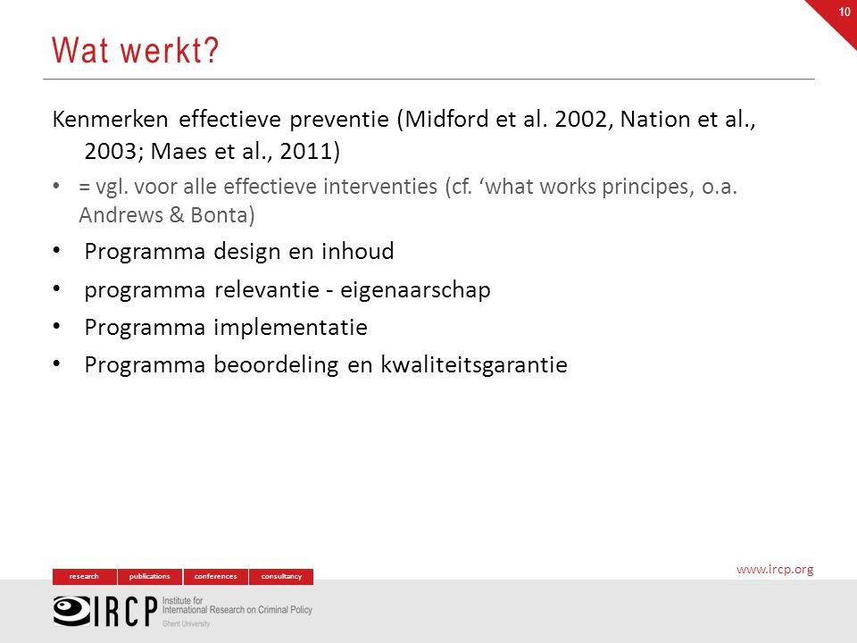 researchpublicationsconferencesconsultancy www.ircp.org Kenmerken effectieve preventie (Midford et al. 2002, Nation et al., 2003; Maes et al., 2011) =