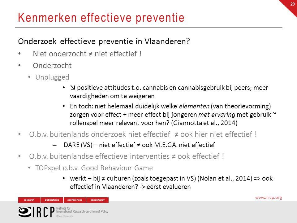 researchpublicationsconferencesconsultancy www.ircp.org Onderzoek effectieve preventie in Vlaanderen? Niet onderzocht ≠ niet effectief ! Onderzocht Un
