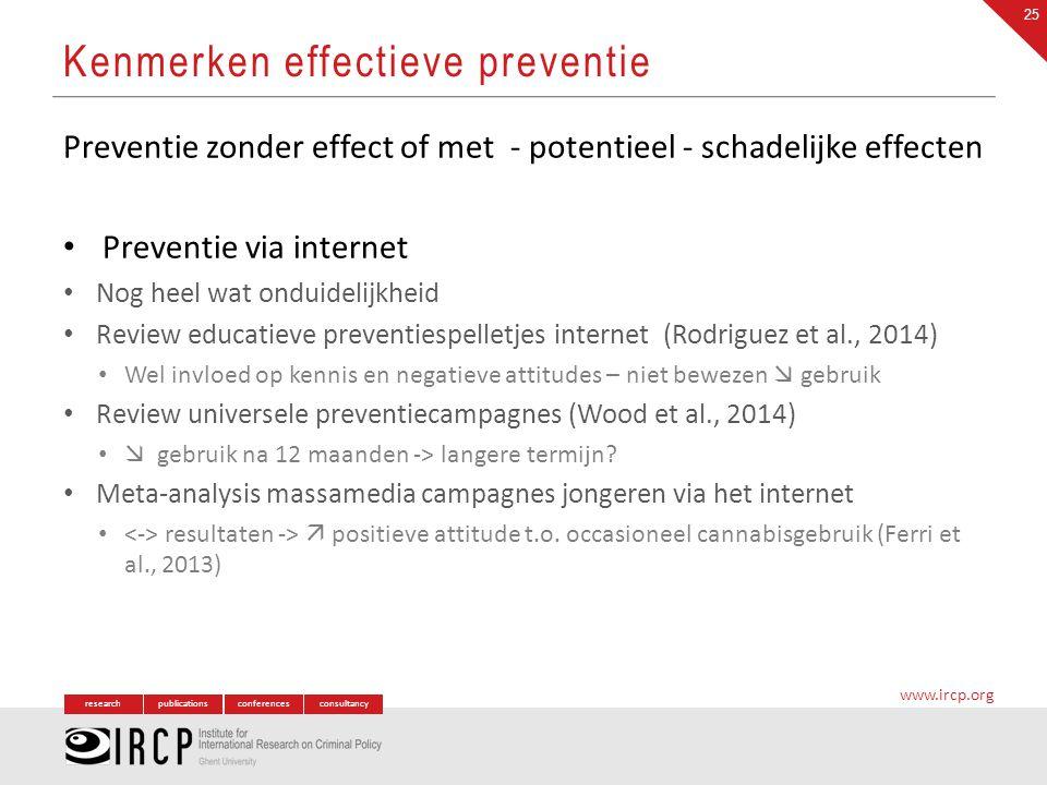 researchpublicationsconferencesconsultancy www.ircp.org Preventie zonder effect of met - potentieel - schadelijke effecten Preventie via internet Nog