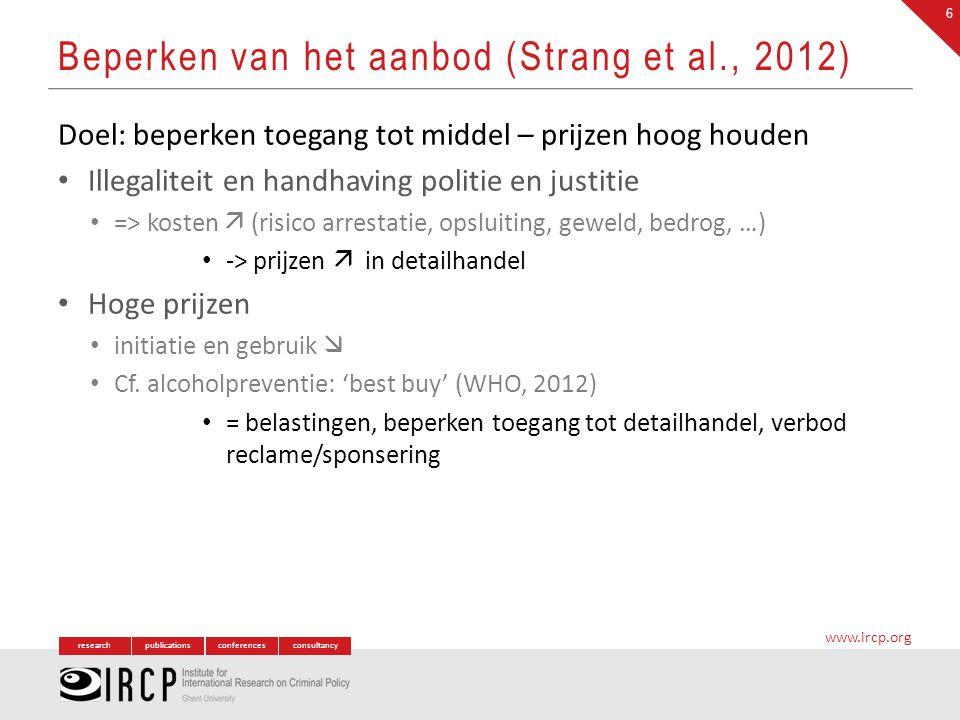 researchpublicationsconferencesconsultancy www.ircp.org Doel: beperken toegang tot middel – prijzen hoog houden Illegaliteit en handhaving politie en