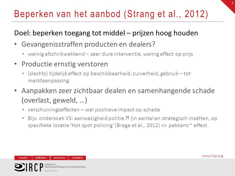 researchpublicationsconferencesconsultancy www.ircp.org Doel: beperken toegang tot middel – prijzen hoog houden Gevangenisstraffen producten en dealer