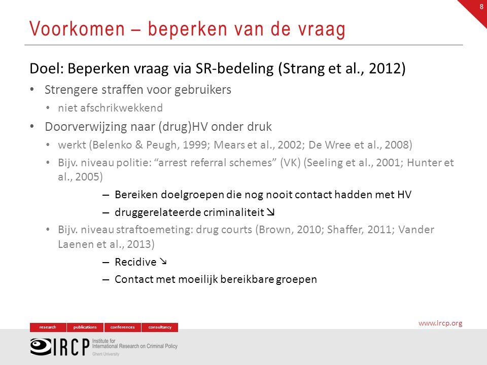 researchpublicationsconferencesconsultancy www.ircp.org Doel: Beperken vraag via SR-bedeling (Strang et al., 2012) Strengere straffen voor gebruikers