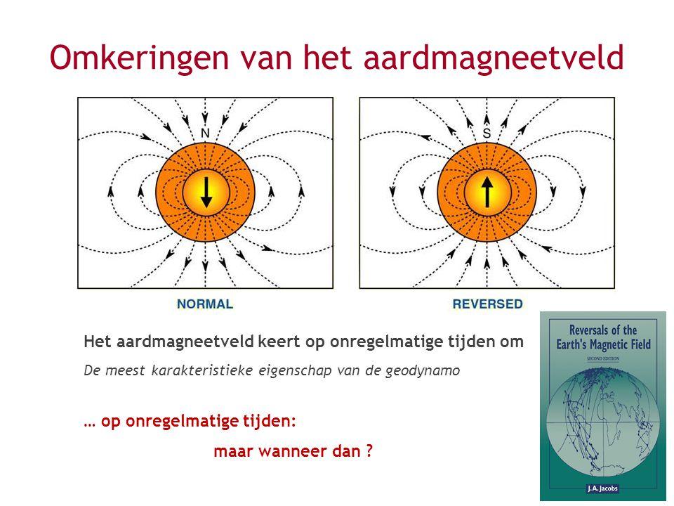 Omkeringen van het aardmagneetveld Het aardmagneetveld keert op onregelmatige tijden om De meest karakteristieke eigenschap van de geodynamo … op onregelmatige tijden: maar wanneer dan