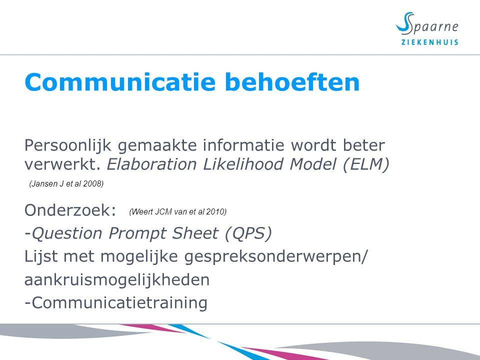Communicatie behoeften Persoonlijk gemaakte informatie wordt beter verwerkt. Elaboration Likelihood Model (ELM) Onderzoek: -Question Prompt Sheet (QPS