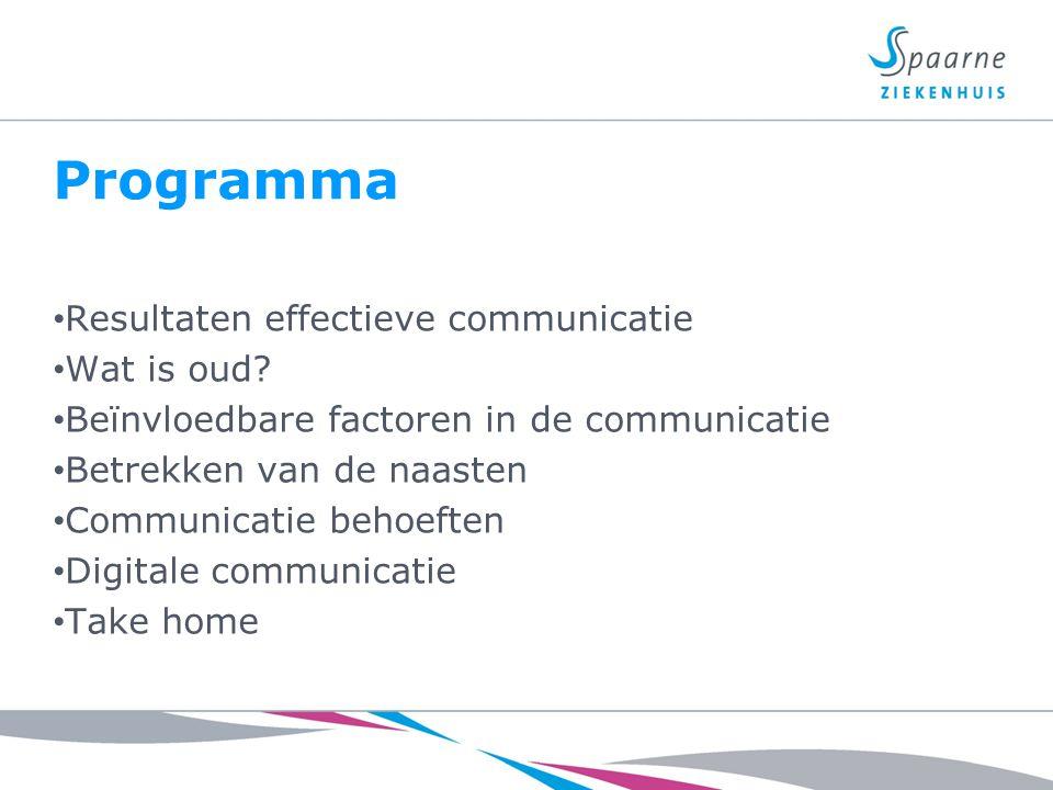 Programma Resultaten effectieve communicatie Wat is oud? Beïnvloedbare factoren in de communicatie Betrekken van de naasten Communicatie behoeften Dig