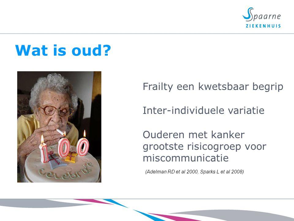 Beïnvloedbare factoren in de communicatie met ouderen Complexe problemen fysiek als sociaal -Comorbiditeit -Polyfarmacie -Functionele beperkingen -Emotionele problemen -Gebrek aan sociale steun