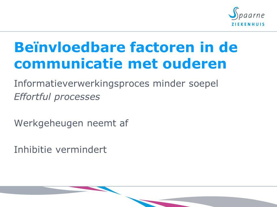 Beïnvloedbare factoren in de communicatie met ouderen Informatieverwerkingsproces minder soepel Effortful processes Werkgeheugen neemt af Inhibitie ve