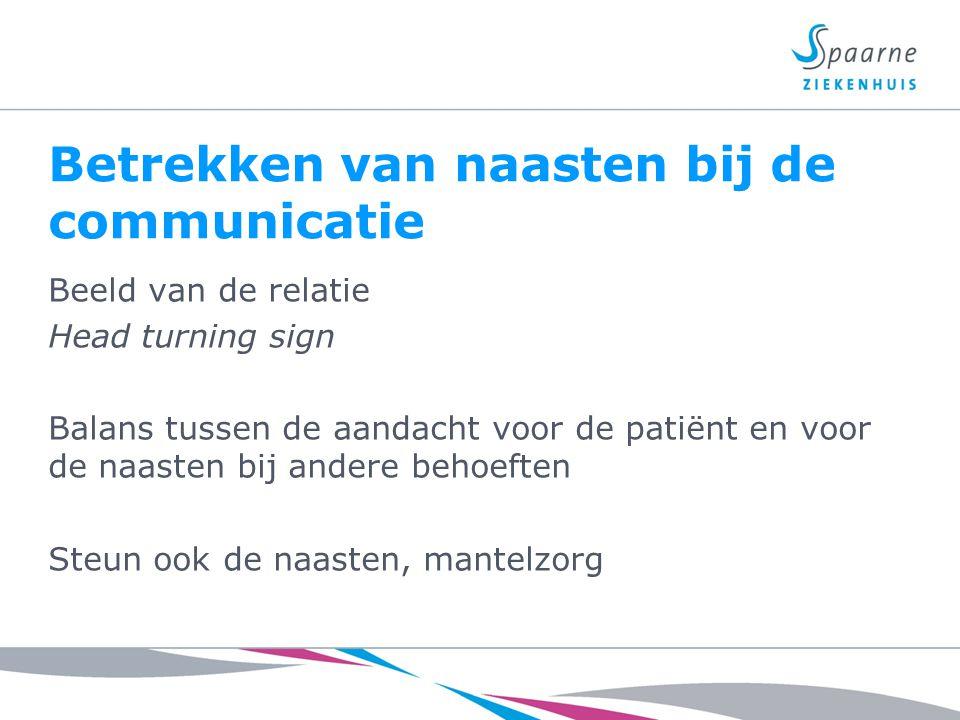 Betrekken van naasten bij de communicatie Beeld van de relatie Head turning sign Balans tussen de aandacht voor de patiënt en voor de naasten bij ande