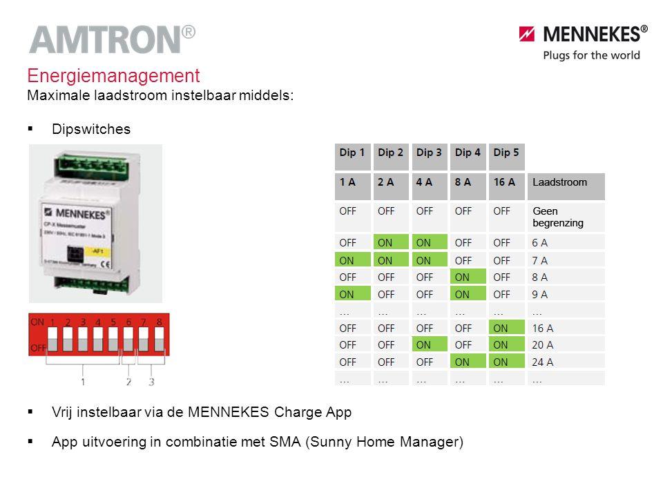 Energiemanagement  Vrij instelbaar via de MENNEKES Charge App  App uitvoering in combinatie met SMA (Sunny Home Manager) Maximale laadstroom instelb