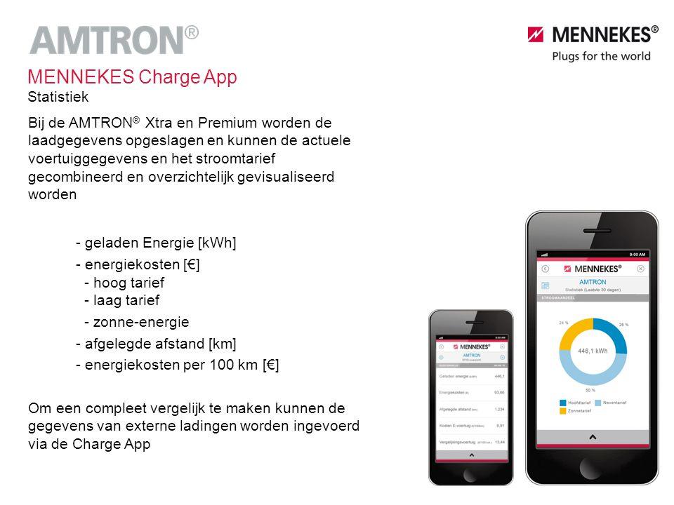 Bij de AMTRON ® Xtra en Premium worden de laadgegevens opgeslagen en kunnen de actuele voertuiggegevens en het stroomtarief gecombineerd en overzichte