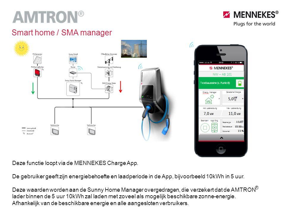 Deze functie loopt via de MENNEKES Charge App. De gebruiker geeft zijn energiebehoefte en laadperiode in de App, bijvoorbeeld 10kWh in 5 uur. Deze waa