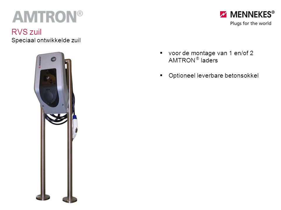 Speciaal ontwikkelde zuil RVS zuil ®  voor de montage van 1 en/of 2 AMTRON laders  Optioneel leverbare betonsokkel