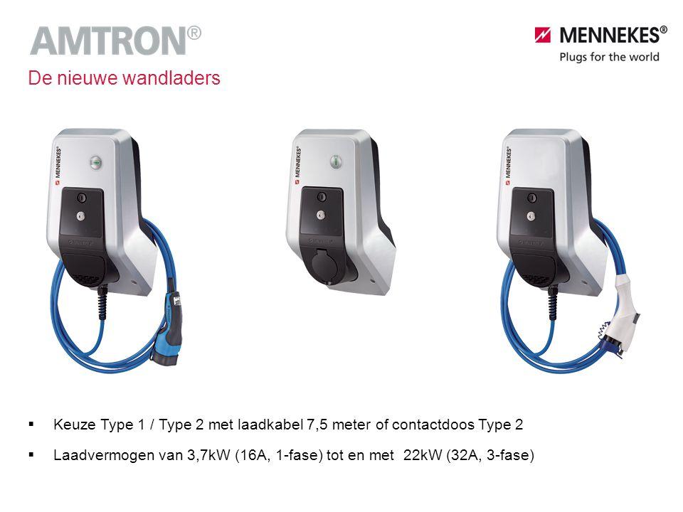  Keuze Type 1 / Type 2 met laadkabel 7,5 meter of contactdoos Type 2  Laadvermogen van 3,7kW (16A, 1-fase) tot en met 22kW (32A, 3-fase) De nieuwe w