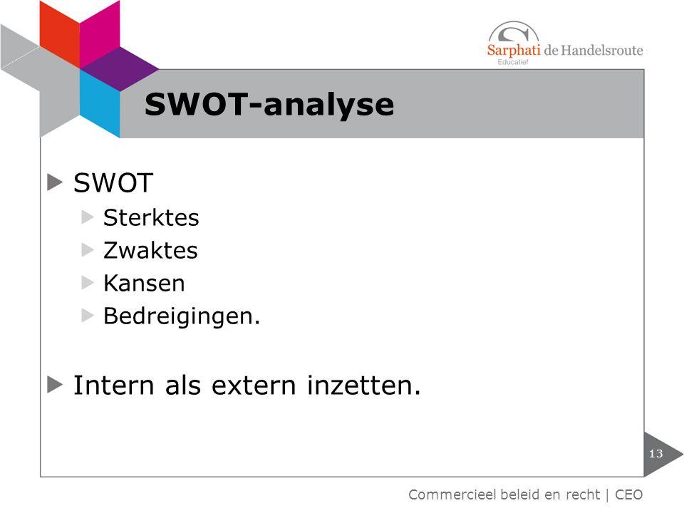 13 Commercieel beleid en recht | CEO SWOT-analyse SWOT Sterktes Zwaktes Kansen Bedreigingen. Intern als extern inzetten.