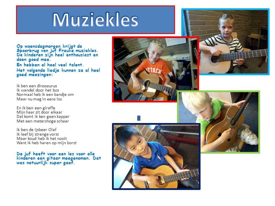 Op woensdagmorgen krijgt de Spoorbrug van juf Frauke muziekles. De kinderen zijn heel enthousiast en doen goed mee. En hebben al heel veel talent. Het