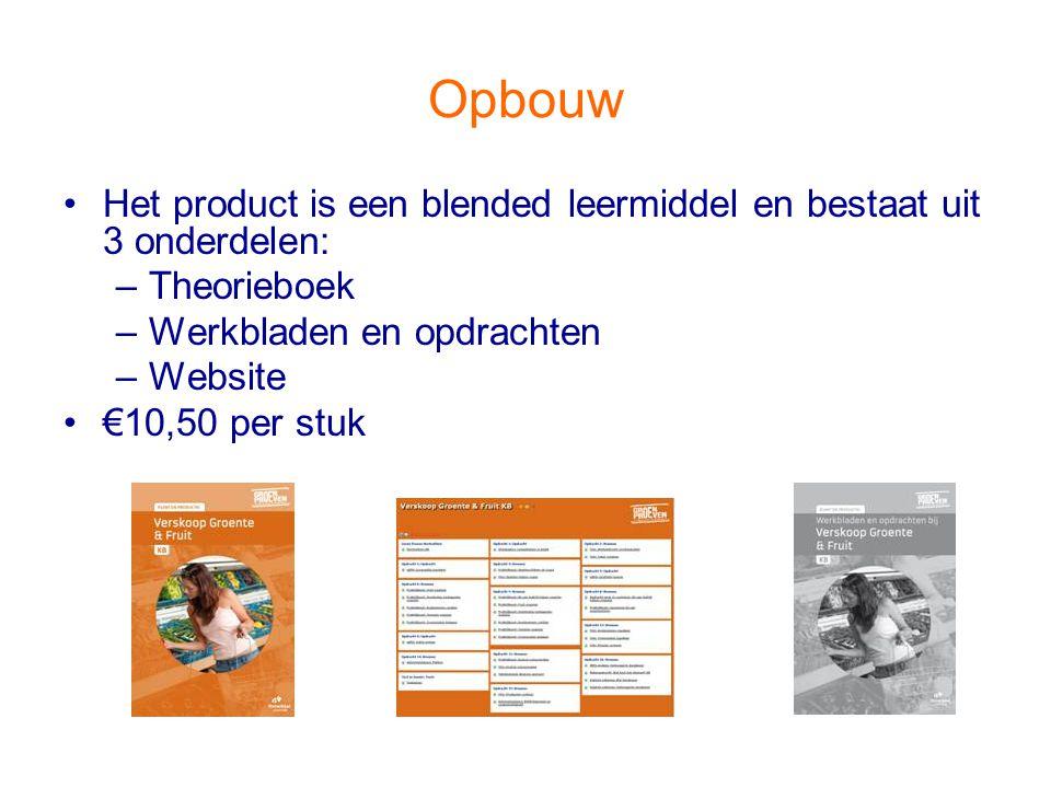 Opbouw Het product is een blended leermiddel en bestaat uit 3 onderdelen: –Theorieboek –Werkbladen en opdrachten –Website €10,50 per stuk