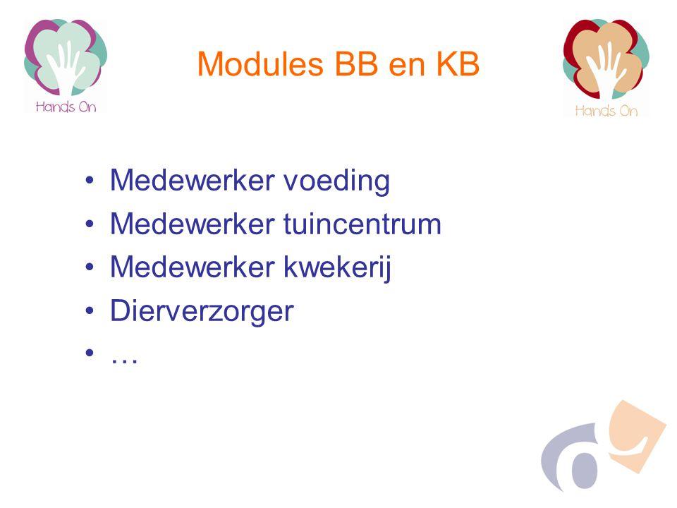 Modules BB en KB Medewerker voeding Medewerker tuincentrum Medewerker kwekerij Dierverzorger …