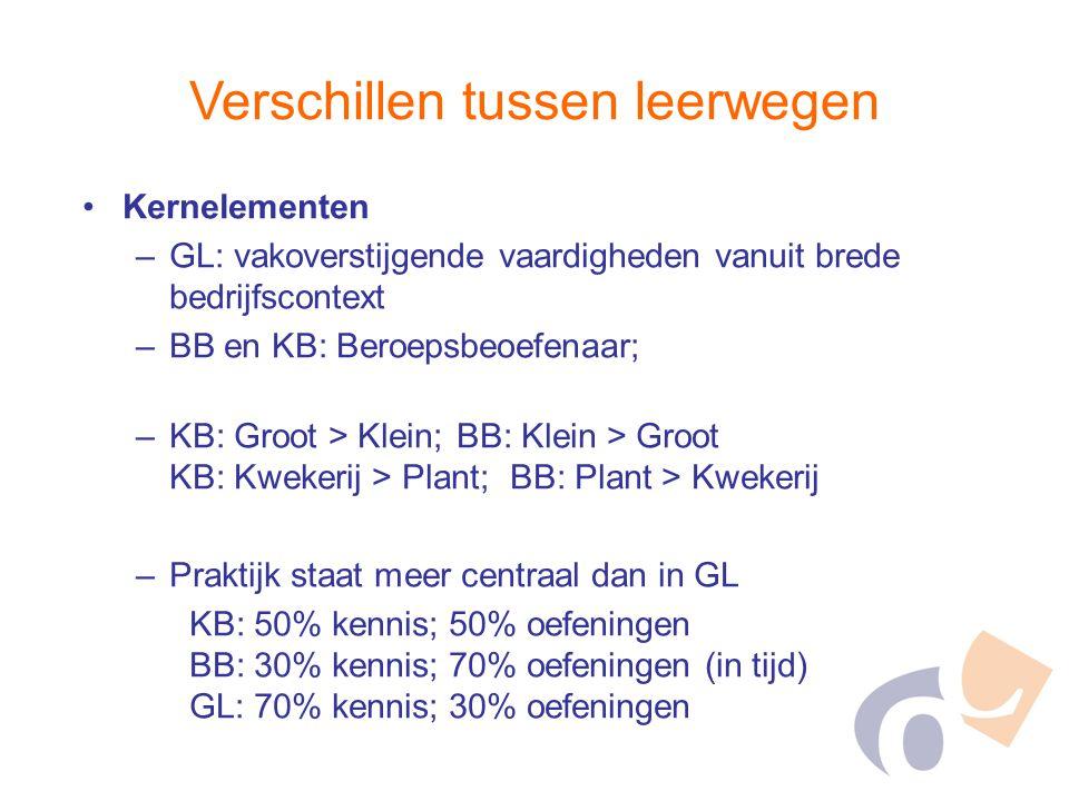 Verschillen tussen leerwegen Kernelementen –GL: vakoverstijgende vaardigheden vanuit brede bedrijfscontext –BB en KB: Beroepsbeoefenaar; –KB: Groot >