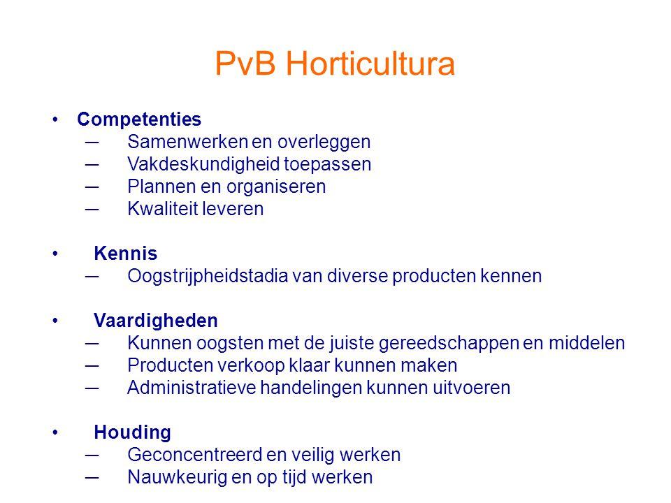 PvB Horticultura Competenties ─Samenwerken en overleggen ─Vakdeskundigheid toepassen ─Plannen en organiseren ─Kwaliteit leveren Kennis ─Oogstrijpheids