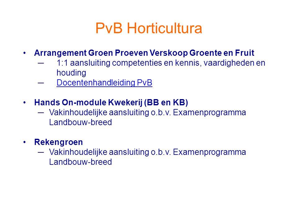 PvB Horticultura Arrangement Groen Proeven Verskoop Groente en Fruit ─1:1 aansluiting competenties en kennis, vaardigheden en houding ─Docentenhandlei