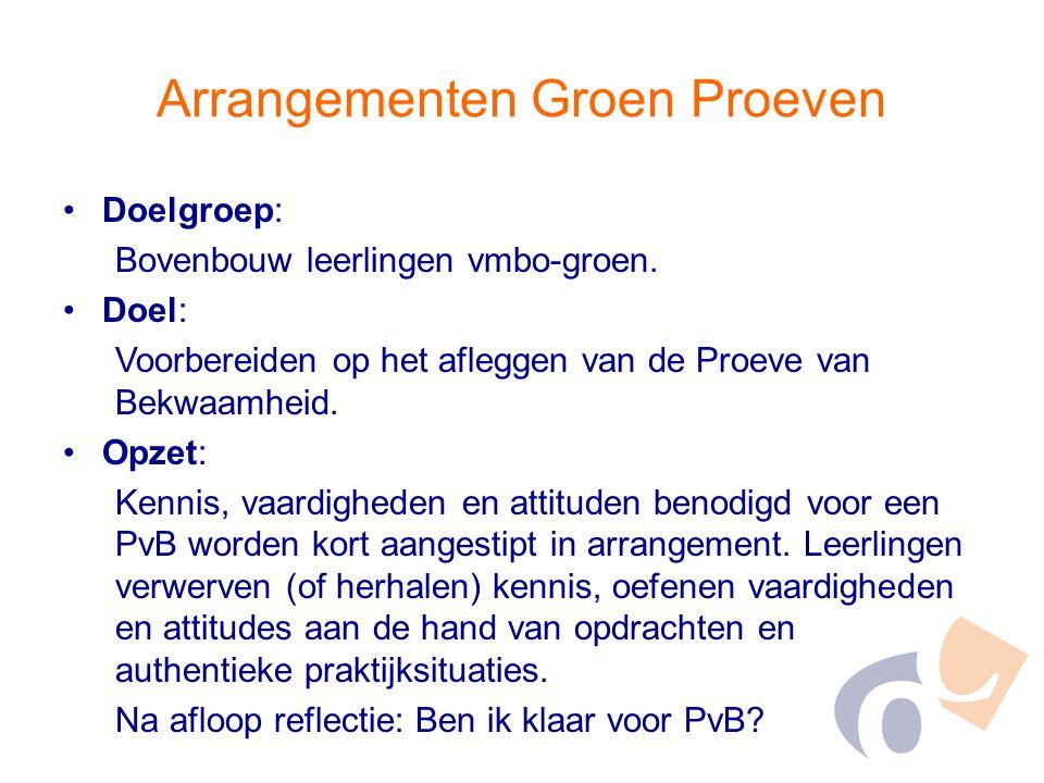Arrangementen Groen Proeven Doelgroep: Bovenbouw leerlingen vmbo-groen. Doel: Voorbereiden op het afleggen van de Proeve van Bekwaamheid. Opzet: Kenni