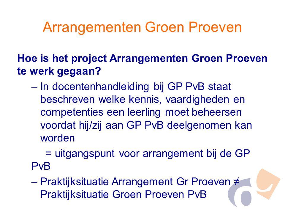 Arrangementen Groen Proeven Hoe is het project Arrangementen Groen Proeven te werk gegaan? –In docentenhandleiding bij GP PvB staat beschreven welke k
