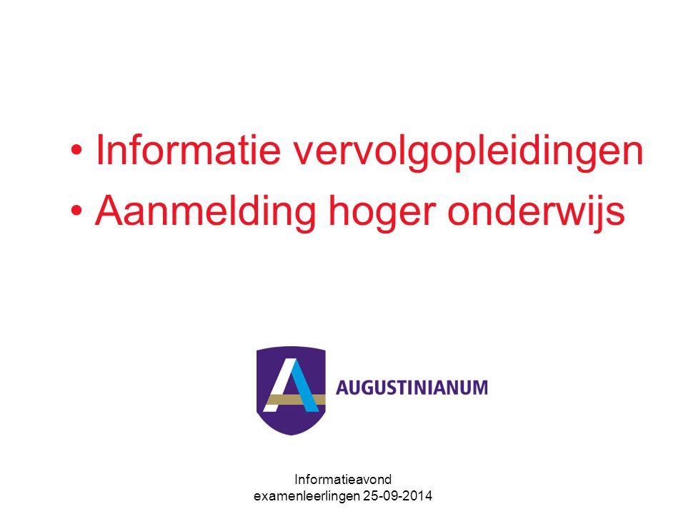 Informatieavond examenleerlingen 25-09-2014 Informatie vervolgopleidingen Aanmelding hoger onderwijs