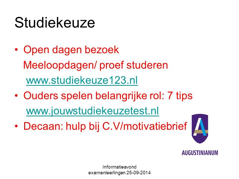 Studiekeuze Open dagen bezoek Meeloopdagen/ proef studeren www.studiekeuze123.nl Ouders spelen belangrijke rol: 7 tips www.jouwstudiekeuzetest.nl Decaan: hulp bij C.V/motivatiebrief Informatieavond examenleerlingen 25-09-2014