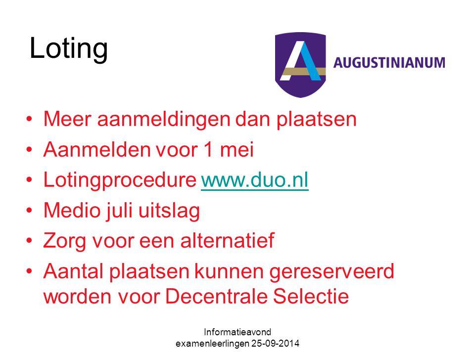 Loting Meer aanmeldingen dan plaatsen Aanmelden voor 1 mei Lotingprocedure www.duo.nlwww.duo.nl Medio juli uitslag Zorg voor een alternatief Aantal plaatsen kunnen gereserveerd worden voor Decentrale Selectie