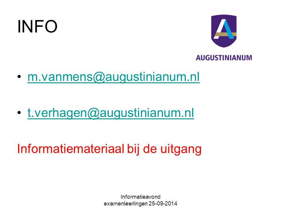 INFO m.vanmens@augustinianum.nl t.verhagen@augustinianum.nl Informatiemateriaal bij de uitgang
