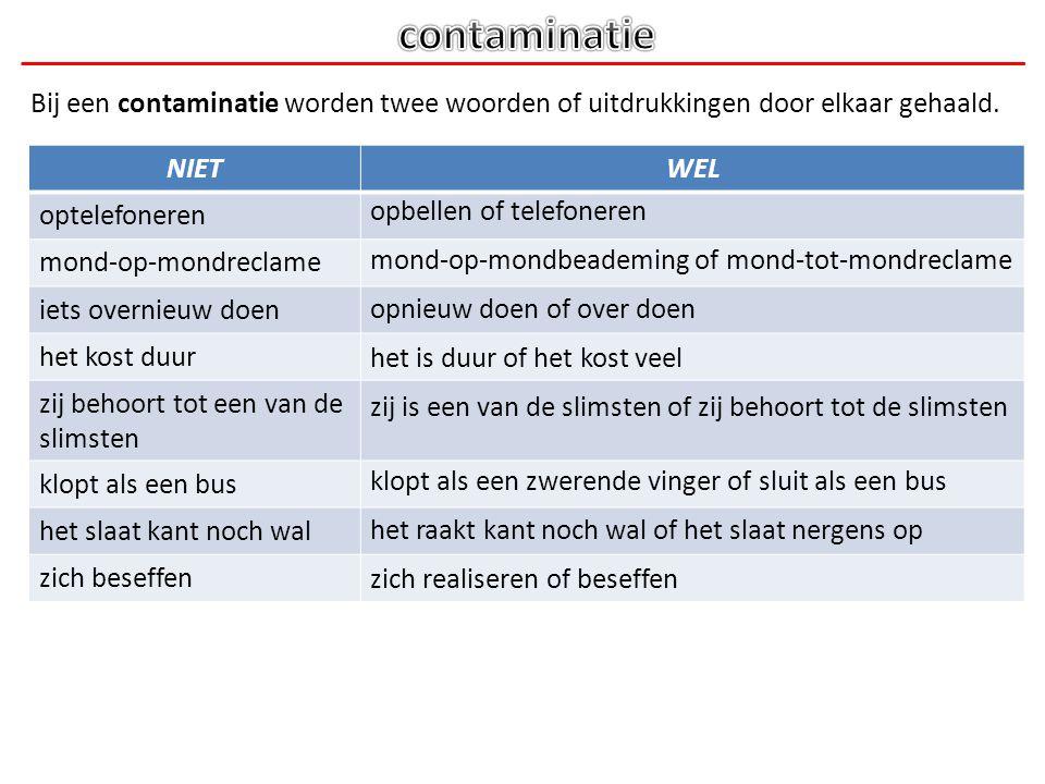 Bij een contaminatie worden twee woorden of uitdrukkingen door elkaar gehaald. NIETWEL optelefoneren mond-op-mondreclame iets overnieuw doen het kost
