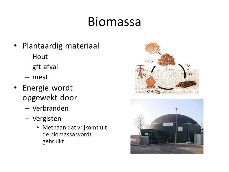 Biomassa Plantaardig materiaal – Hout – gft-afval – mest Energie wordt opgewekt door – Verbranden – Vergisten Methaan dat vrijkomt uit de biomassa wor