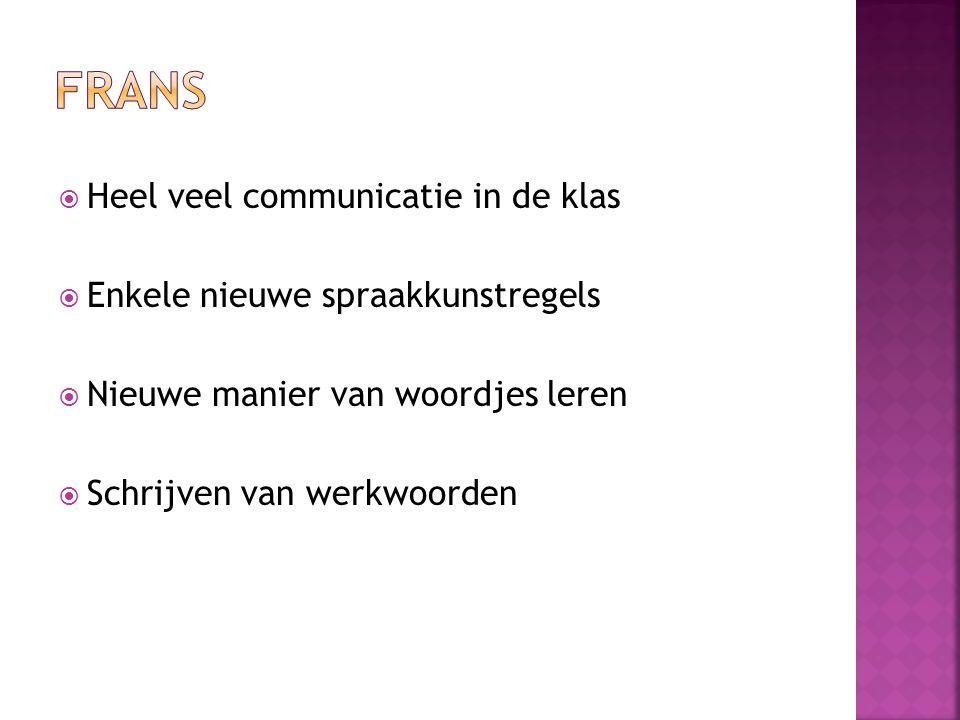  Heel veel communicatie in de klas  Enkele nieuwe spraakkunstregels  Nieuwe manier van woordjes leren  Schrijven van werkwoorden