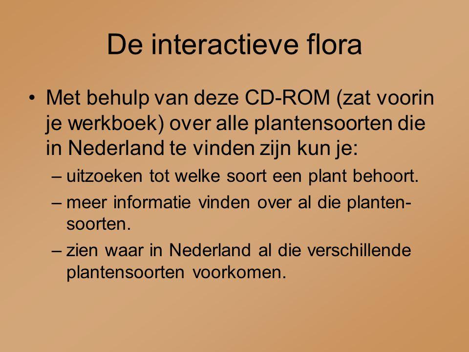 Met behulp van deze CD-ROM (zat voorin je werkboek) over alle plantensoorten die in Nederland te vinden zijn kun je: –uitzoeken tot welke soort een pl