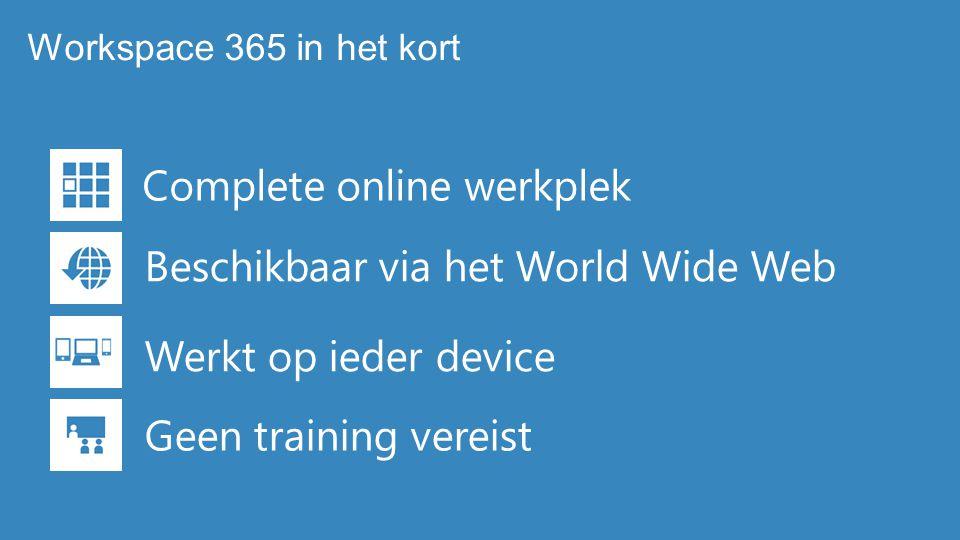 Complete online werkplek Beschikbaar via het World Wide Web Werkt op ieder device Geen training vereist Workspace 365 in het kort