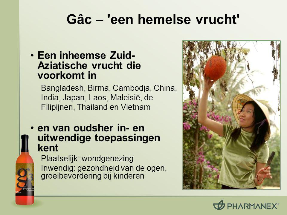 Gâc – 'een hemelse vrucht' Een inheemse Zuid- Aziatische vrucht die voorkomt in Bangladesh, Birma, Cambodja, China, India, Japan, Laos, Maleisië, de F