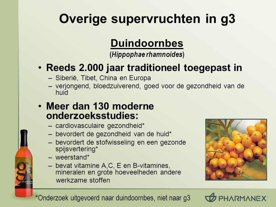 Overige supervruchten in g3 Reeds 2.000 jaar traditioneel toegepast in –Siberië, Tibet, China en Europa –verjongend, bloedzuiverend, goed voor de gezo