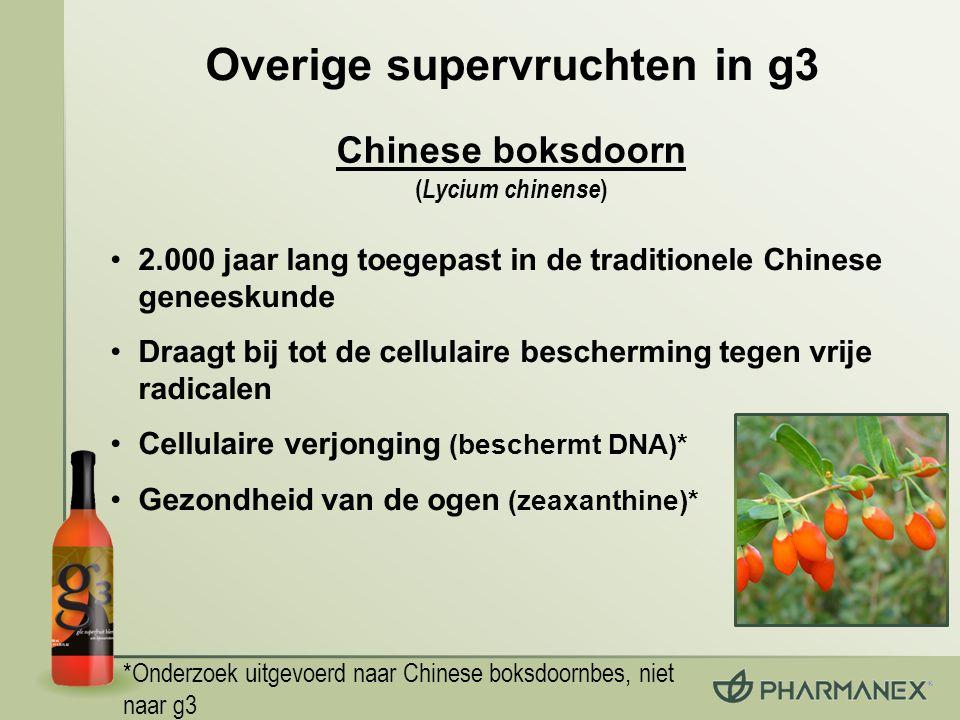 *Onderzoek uitgevoerd naar Chinese boksdoornbes, niet naar g3 2.000 jaar lang toegepast in de traditionele Chinese geneeskunde Draagt bij tot de cellulaire bescherming tegen vrije radicalen Cellulaire verjonging (beschermt DNA)* Gezondheid van de ogen (zeaxanthine)* Overige supervruchten in g3 Chinese boksdoorn ( Lycium chinense )
