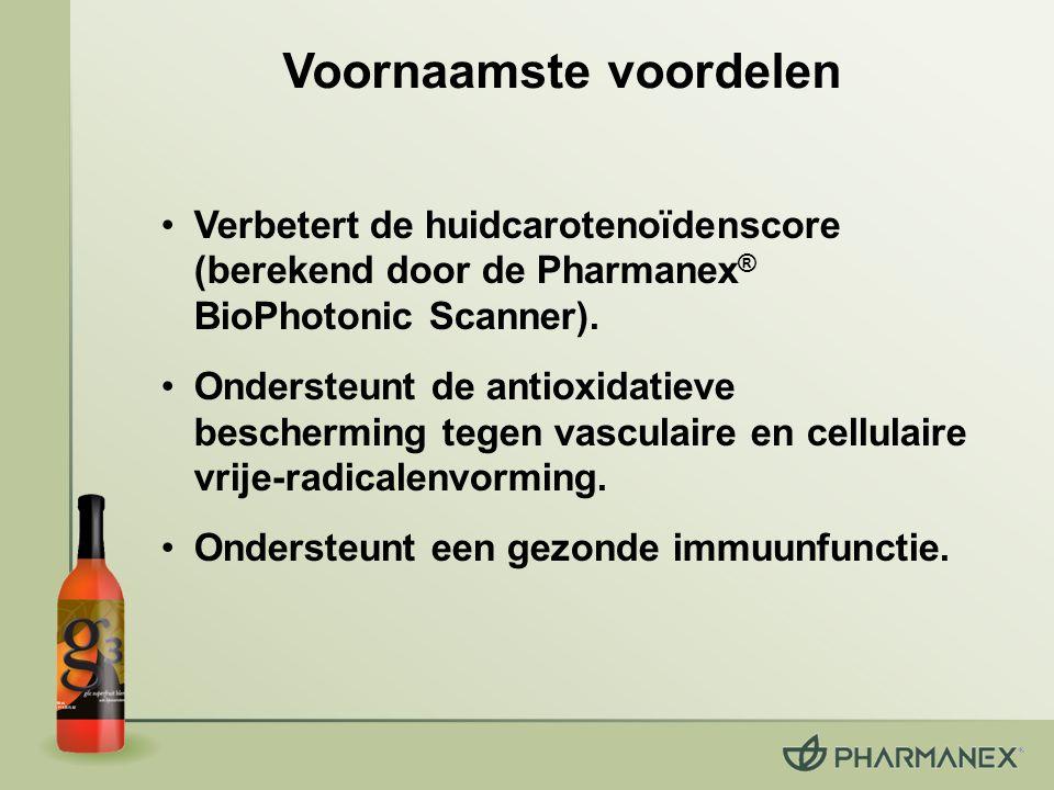 Verbetert de huidcarotenoïdenscore (berekend door de Pharmanex ® BioPhotonic Scanner). Ondersteunt de antioxidatieve bescherming tegen vasculaire en c