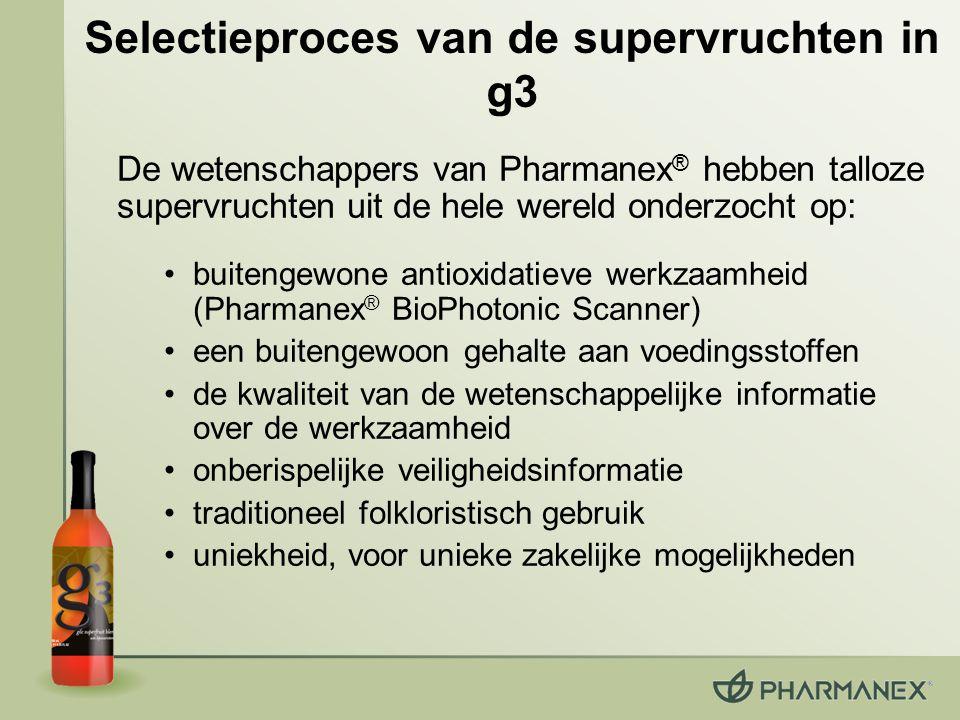 De wetenschappers van Pharmanex ® hebben talloze supervruchten uit de hele wereld onderzocht op: buitengewone antioxidatieve werkzaamheid (Pharmanex ®