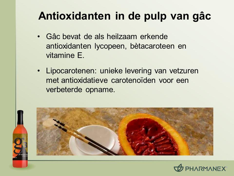 Lipocarotenen: uniek opnamesysteem Gâc en duindoornbes: –bevatten vetzuren (wat uitzonderlijk is bij vruchten) –carotenoïden en vitamine E zijn vooropgelost in vetzuren Lipocarotenen: een matrix van vetzuren met carotenoïden –een 40% betere plasma-absorptie* –een 55% hogere Scannerscore* *t.o.v.