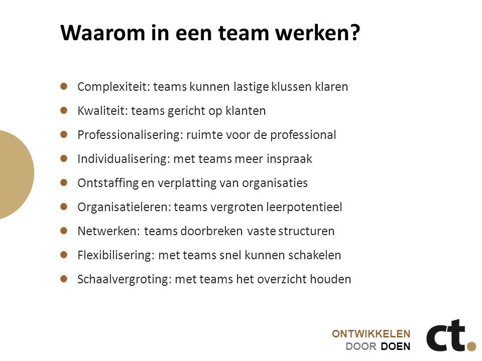 ONTWIKKELEN DOOR DOEN Waarom in een team werken? Complexiteit: teams kunnen lastige klussen klaren Kwaliteit: teams gericht op klanten Professionalise