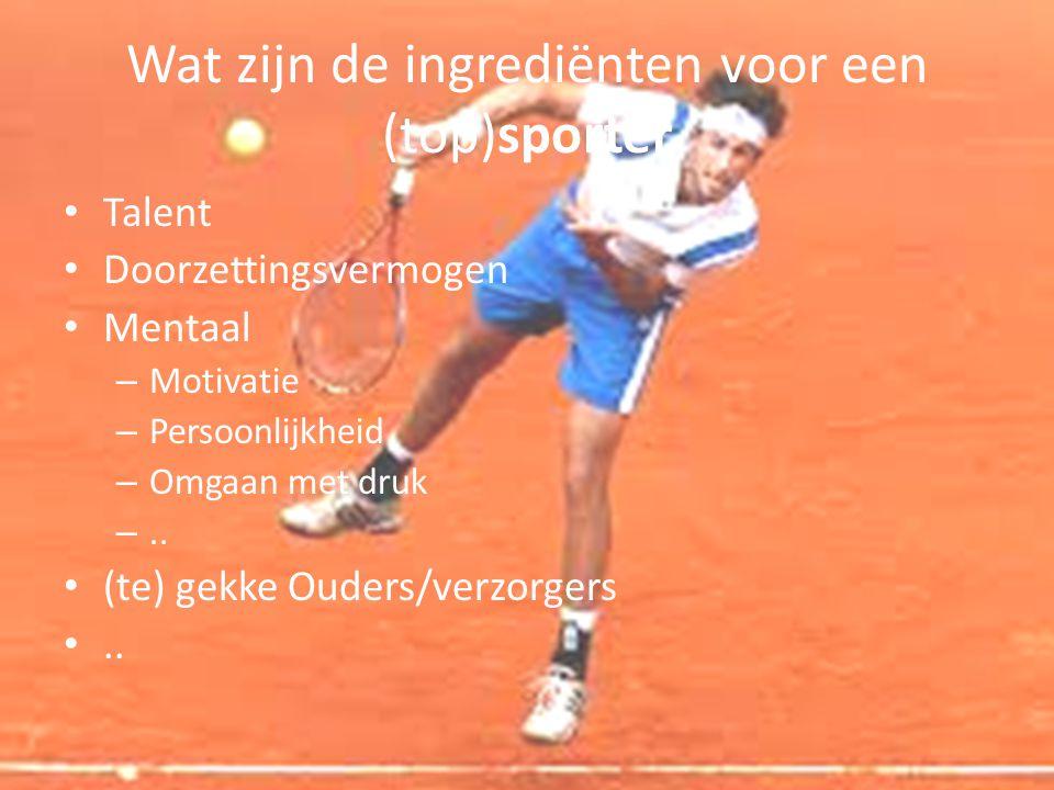 Wat zijn de ingrediënten voor een (top)sporter Talent Doorzettingsvermogen Mentaal – Motivatie – Persoonlijkheid – Omgaan met druk –.. (te) gekke Oude