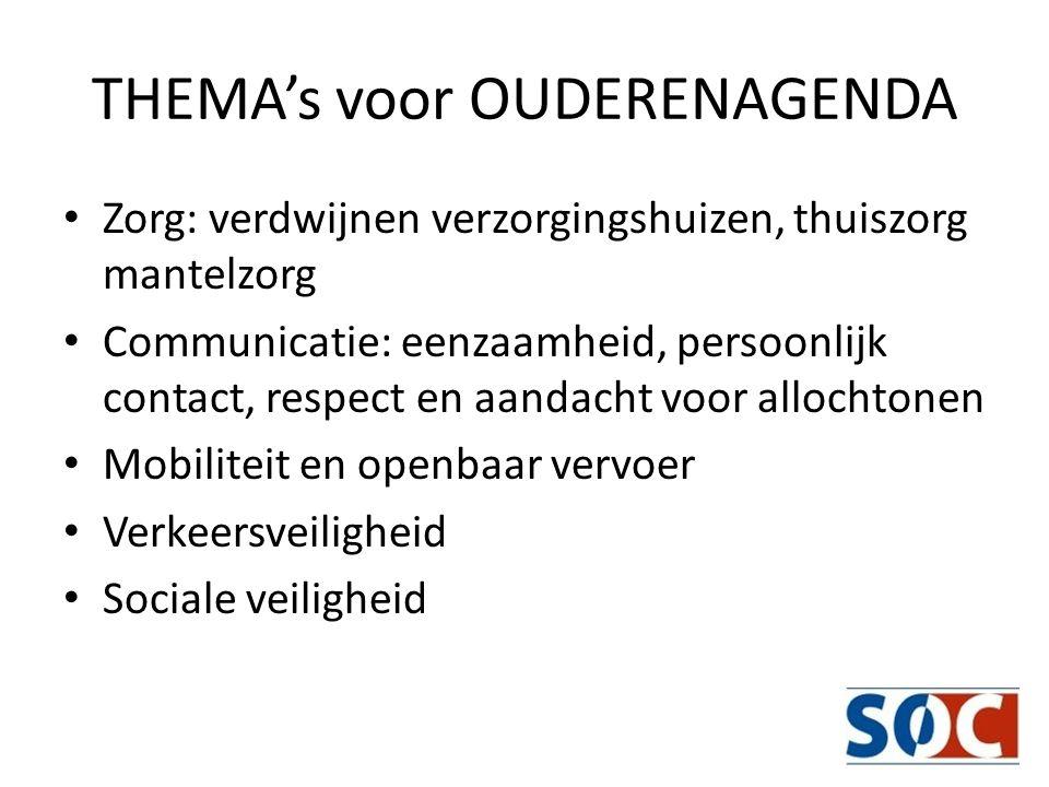 THEMA's voor OUDERENAGENDA Zorg: verdwijnen verzorgingshuizen, thuiszorg mantelzorg Communicatie: eenzaamheid, persoonlijk contact, respect en aandach