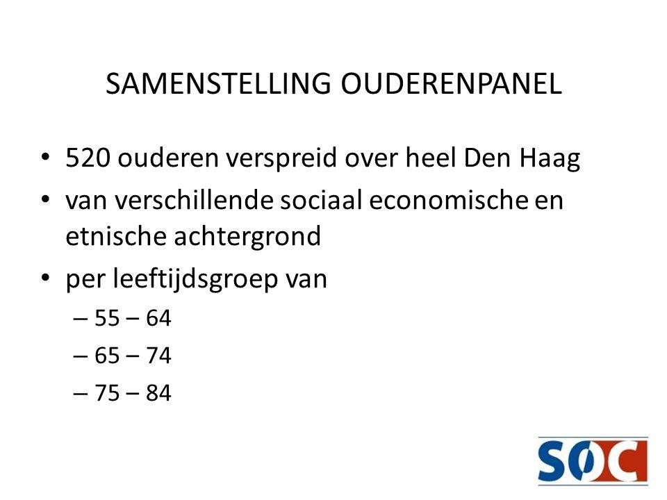 SAMENSTELLING OUDERENPANEL 520 ouderen verspreid over heel Den Haag van verschillende sociaal economische en etnische achtergrond per leeftijdsgroep v