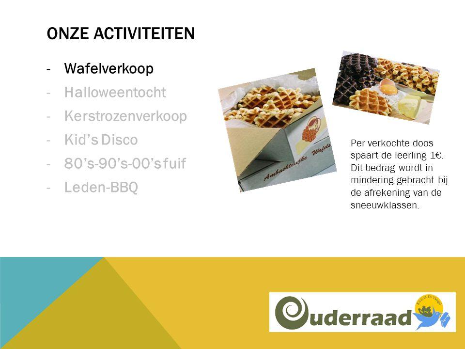 ONZE ACTIVITEITEN -Wafelverkoop -Halloweentocht -Kerstrozenverkoop -Kid's Disco -80's-90's-00's fuif -Leden-BBQ Per verkochte doos spaart de leerling 1€.