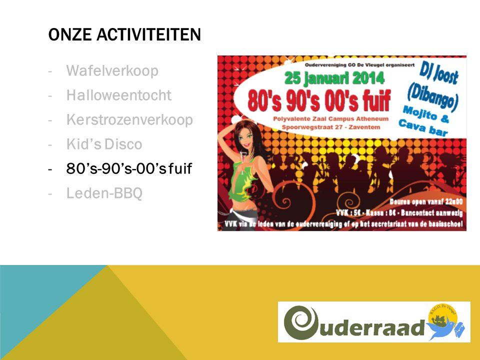 ONZE ACTIVITEITEN -Wafelverkoop -Halloweentocht -Kerstrozenverkoop -Kid's Disco -80's-90's-00's fuif -Leden-BBQ