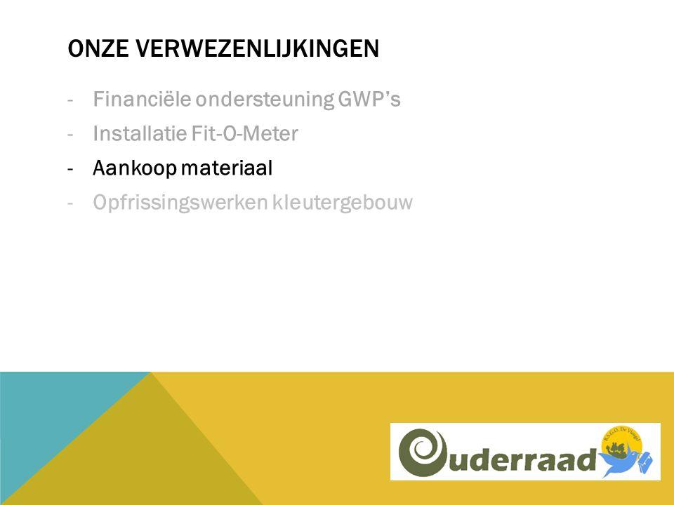 ONZE VERWEZENLIJKINGEN -Financiële ondersteuning GWP's -Installatie Fit-O-Meter -Aankoop materiaal -Opfrissingswerken kleutergebouw